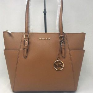 MICHAEL KORS CHARLOTTE LARGE ZIP TOTE SHOULDER BAG